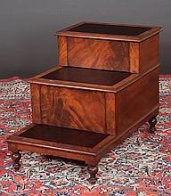 Sheraton mahogany three tier bed step on turned legs, c.1860, 20