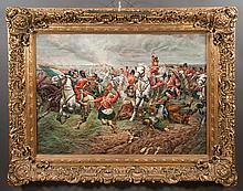 """Exceptional oil painting on canvas depicting the Battle of Waterloo, canvas size 36"""" high, 48"""" wide"""