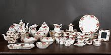 """Set of Royal Albert bone china with multicolor floral decoration, """"Old Country Rose""""pattern, 101 pieces"""