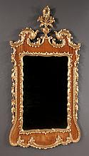"Chippendale style faux walnut and gold gilt mirror with urn, plume and broken arch pediment with leaf carved sides, 60"" high, 31"" wide"