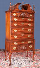 "Queen Anne style bonnet top highboy with urn shaped finials, shell carved top drawer on cabriole legs and pad feet by Henredon Furniture Co., 37"" wide, 20"" deep, 80"" high"