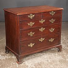 "Chippendale mahogany chest with two small drawers over three full graduated drawers and bracket feet, c.1790, 39"" wide, 22"" deep, 35"" high"