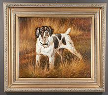 """Oil painting on canvas, landscape scene with hunting dog, canvas size 20"""" high, 24"""" wide"""
