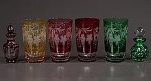 "Group of four Bohemian multicolor glass tumblers, 5.5"" high and two Bohemian perfume bottles, six pieces"