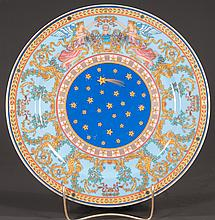 "Versace china limited edition 1997 Christmas charger, with angels, Christ child and shooting stars, 12"" diameter"