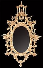 """Exceptional Chinese Chippendale style gold gilt mirror with pagoda top pediment, pierced scroll design, carved Phoenix birds on side and pierced carved base, 54"""" high, 35"""" wide"""