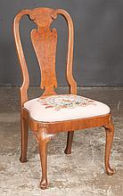 "Queen Anne style walnut side chair with urn shaped splat back, balloon shaped needlepoint seat on cabriole legs on pad feet, 21"" wide, 17"" deep, 40"" high"