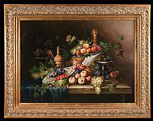 "Oil painting on canvas, Venetian style floral still life with plates and compote of fruit and basket of fruit, canvas size 36"" high, 48"" wide"