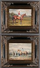 """Two companion oil paintings on canvas, landscape scenes with jockeys on horseback, canvas size, 12"""" high, 16"""" wide"""