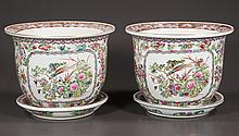 """Pair of oriental porcelain cache pots in the Canton rose pattern with under plates, 11"""" diameter, 9"""" high"""