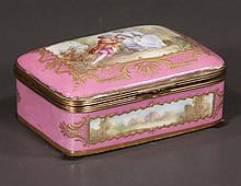 """Porcelain Russinger-Pouyat bronze mounted hinged dome top trinket box with painted romantic scenes, 6"""" wide, 4"""" deep, 2.5"""" high"""