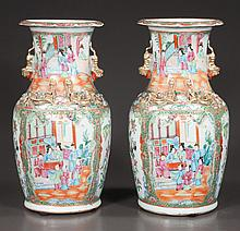 "Pair of Chinese rose medallion vases with palace scene, bird, floral and figural decoration, c.1860, 14"" high"