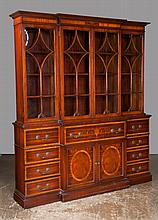 "Sheraton style mahogany inlaid breakfront bookcase with urn and scroll inlaid secretary drawer above two panelled cupboard doors, 73"" wide, 16"" deep, 85"" high"