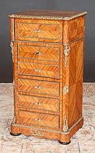 """Louis XIV bronze mounted king wood boudoir cabinet with lift top upper section, fall front cupboard over three drawer, c.1890, 20"""" wide, 16"""" deep, 39"""" high"""