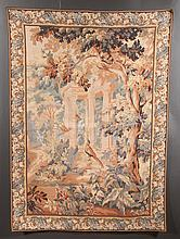 "French tapestry, garden scene with veranda and pheasants having a floral and foliate border, 46"" wide, 64"" high"