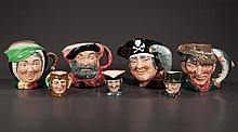 "Group of seven Royal Doulton china Toby jugs; The Poacher, 7"" high, Sairey Gamp, 6.5"" high, John Peel, 3.5"" high, Dick Turpin, 3.5"" high, Jester, 3.25"" high, Falstaff, 6.5"" high, Long John Silver, 7.5"" high"