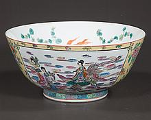 "Chinese porcelain bowl with figural and scenic decoration, 14"" diameter, 6.5"" high"