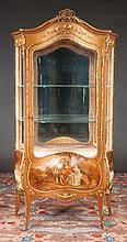 """Louis XV style bronze mounted bombe shape vitrine with Vernis Martin style decoration, c.1900, 38"""" wide, 18"""" deep, 74"""" high, As Found (small crack in left side glass)"""