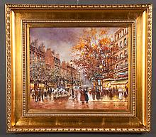 """Oil painting on canvas, Paris street scene, signed J. Gaston, canvas size 20"""" high, 24"""" wide"""