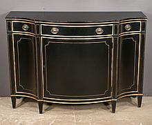 """Pair of black lacquered serpentine front Sheraton style credenzas with one drawer over a cupboard door by Baker Furniture Co., 48"""" wide, 20"""" deep, 34"""" high"""