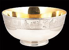 """Sterling silver punch bowl lined with 24K gold by the Franklin Mint, produced on the occasion of the bicentennial of the United States of America, 14"""" diameter, 7"""" high, over 150 troy ounces of solid sterling silver, largest sterling silver bowl"""