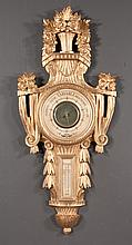 """Italian gold gilt carved wood barometer with urn and floral pediment, 38"""" high, 17"""" wide"""