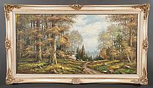 Oil painting on canvas, forest scene with cottage, signed D. Woodville, canvas size