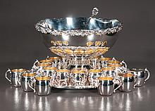 """F B Rogers silver plated punch bowl with tray, ladle and 20 cups, punch bowl 14.5"""" in diameter, 10"""" high"""