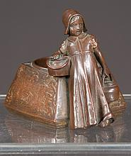 """Austrian bronze depicting a young girl carrying urns by a well fitted as desk tray, 3.5"""" wide, 4"""" deep, 4"""" high"""