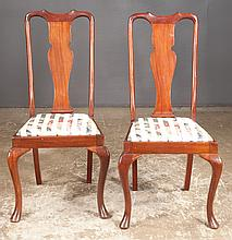 Set of four Queen Anne style mahogany dining chairs with urn shaped splat backs, cabriole legs and pad feet, 19
