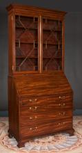 Fine Chippendale mahogany bureau bookcase with mullion glass doors, good fitted interior and on ogee bracket feet, c.1790, 43