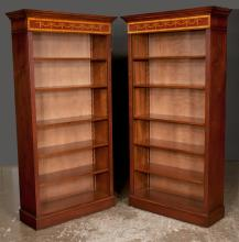 Pair of Sheraton design mahogany open bookcases with satinwood banded cornice, bell flower inlay and adjustable shelves, 36