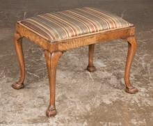 Queen Anne walnut foot stool with upholstered slip seat, cabriole legs on slipper feet, c.1860, 22