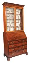 Chippendale mahogany bureau bookcase with good fitted interior, mullion glass doors on the top, dentil crown moulding, having four graduated drawers on bracket feet, c.1880, 36