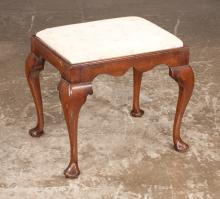 Queen Anne design walnut foot stool with shaped apron on cabriole legs with pad feet, 20