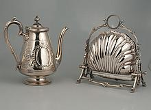 Silver plated coffee pot with chased decoration, c.1865, 9.5