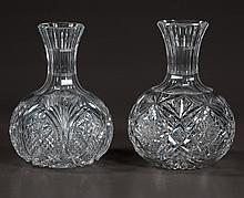 Companion pair of American cut glass water bottles, c.1920, 8