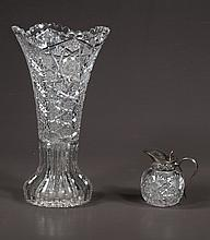 American Brilliant period cut glass vase with scalloped top, c.1920, 12