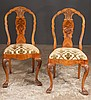 Set of eight Georgian style walnut dining chairs with shell carved backs, serpentine shape seats, cabriole legs and claw feet, c.1900, 20