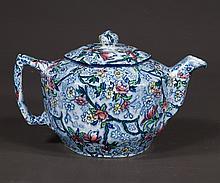 English blue and white china tea pot marked