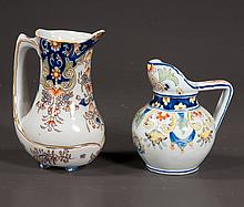 French Faience pitcher with blue, yellow and orange decoration, 7.5