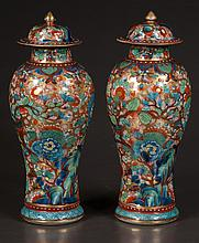 Pair of Chinese porcelain ginger jars with dome lids and multicolor bird and floral decoration, c.1890, 12
