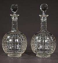 Pair of Irish cut crystal decanters with cut stoppers, c.1920, 11