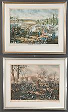 """Two framed Civil War chromolithographs by Kurz and Allison, Battle of Stone River and Battle of Fort Donaldson, overall sizes 26.5"""" high, 32.5"""" wide"""