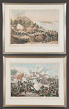 """Two framed Civil War chromolithographs by Kurz and Allison, Assault on Fort Sanders and Siege of Vicksburg, overall size, 26.5"""" high, 32.5"""" wide"""