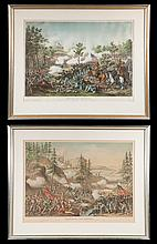 """Two framed Civil War chromolithographs by Kurz and Allison, Battle of Atlanta and Battle of Chattanooga, overall size 26.5"""" high, 32.5"""" wide"""