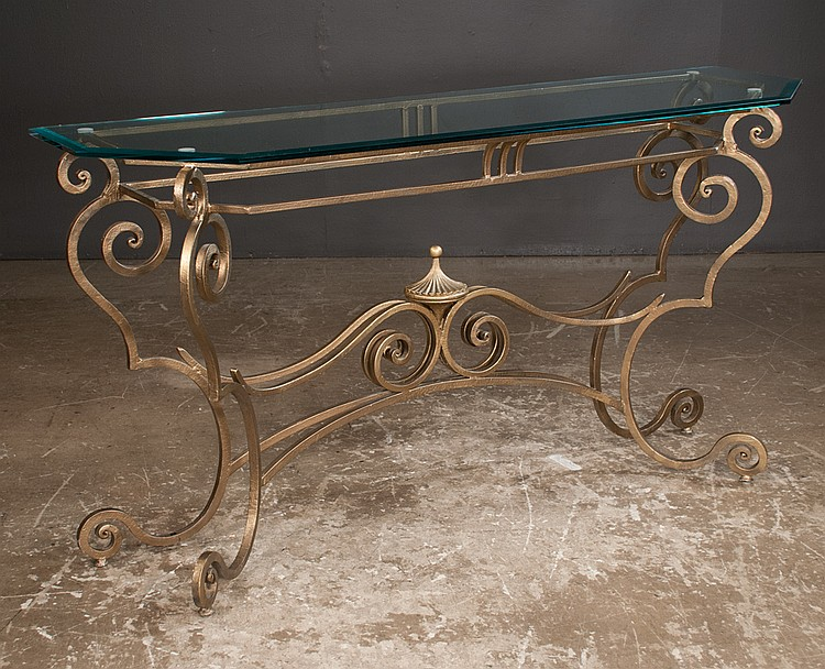 Fancy wrought iron console table with glass top on scroll sh for Table th no scroll