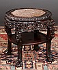 Chinese carved teakwood stand with inset marble top, carved apron and ball and claw feet, c.1880, 24