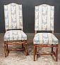 Set of eight Country French fruitwood dining chairs with upholstered backs and seats, c.1900, 18