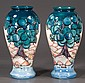 Pair of glazed Moorcroft pottery vases with scenic decoration, 12